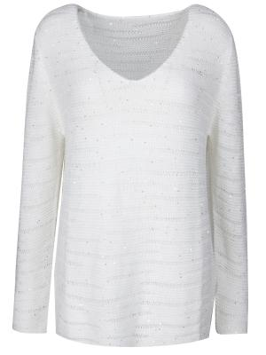 Пуловер с декором Le Tricot Perugia. Цвет: белый