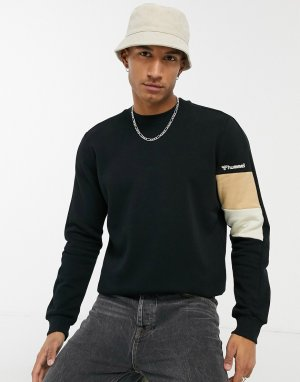 Черный свитшот с цветными вставками на рукаве Hummel
