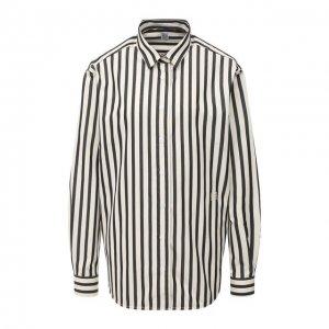 Хлопковая рубашка Totême. Цвет: чёрно-белый