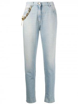 Зауженные джинсы с цепочкой Elisabetta Franchi. Цвет: синий