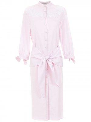 Shirt dress with lace detail Martha Medeiros. Цвет: розовый