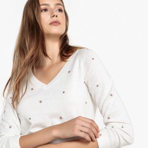 Пуловер с V-образным вырезом и вышивкой звёзды MEMPSEY SUD EXPRESS. Цвет: кремовый