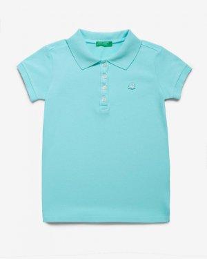 Поло пике с лого Benetton. Цвет: голубой