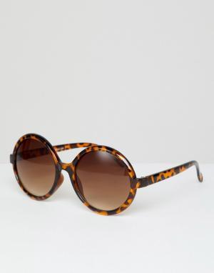 Круглые солнцезащитные очки в черепаховой оправе Inspired эксклюзивно для ASOS Reclaimed Vintage. Цвет: коричневый