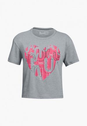 Футболка спортивная Under Armour UA Hearts Logo SS Tee. Цвет: серый