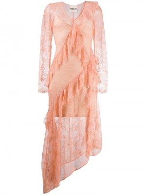 Кружевное платье с асимметричным подолом ANIYE BY. Цвет: розовый