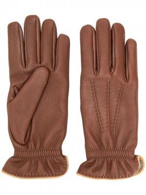 Перчатки с резинкой Brunello Cucinelli. Цвет: коричневый
