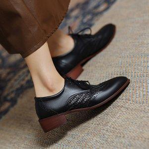 Оксфорды со шнурком на каблуке SHEIN. Цвет: чёрный