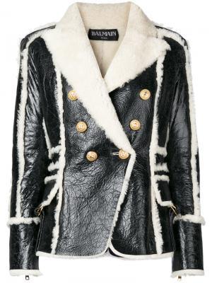 Двубортная куртка с подкладкой из овечьей шерсти Balmain. Цвет: чёрный