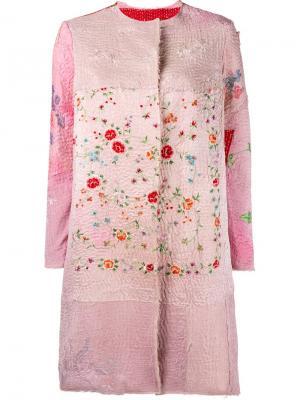 Пальто с цветочной вышивкой By Walid. Цвет: розовый и фиолетовый