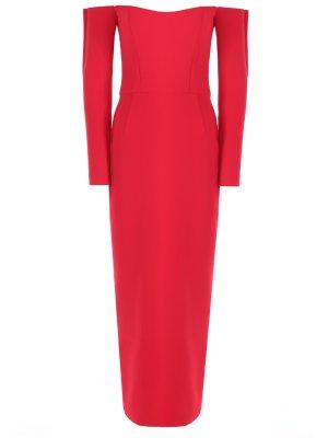 Платье maxi с открытыми плечами TEREKHOV. Цвет: красный