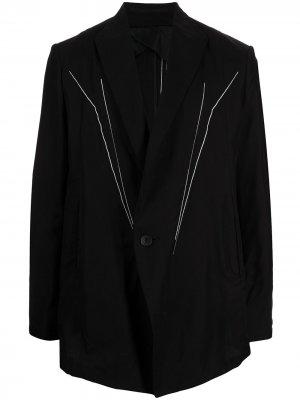 Однобортный пиджак с вышивкой Julius. Цвет: черный