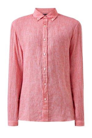 Льняная рубашка Slim Fit с воротником button-down MICHAEL KORS. Цвет: оранжевый