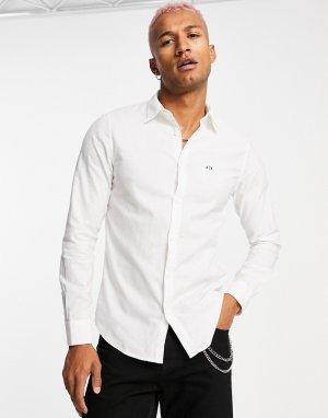 Белая рубашка с маленьким логотипом AX -Белый Armani Exchange