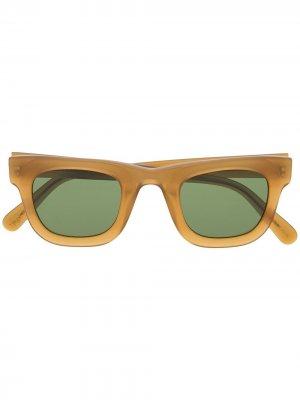 Солнцезащитные очки в квадратной оправе Moscot. Цвет: коричневый