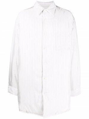 Полосатая куртка-рубашка оверсайз Maison Margiela. Цвет: белый