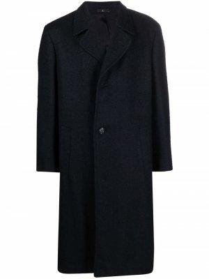 1980s single-breasted herringbone-pattern coat Valentino Pre-Owned. Цвет: синий