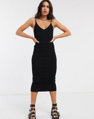Черное трикотажное платье миди на бретелях -Черный Bershka