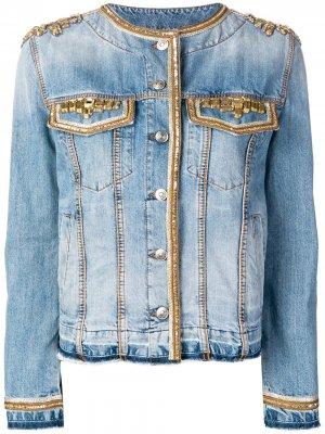Джинсовая куртка с отделкой Ermanno Scervino. Цвет: синий