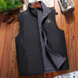 Мужской Жилет-куртка с заплатой на молнии SHEIN. Цвет: чёрный
