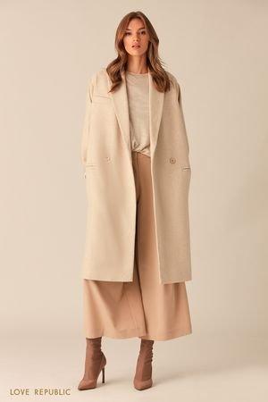 Пальто-кокон из шерстяной ткани в ёлочку LOVE REPUBLIC