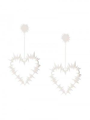 Серьги-подвески Electric Heart Karen Walker. Цвет: серебристый