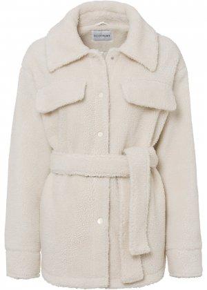 Куртка из плюшевого материала bonprix. Цвет: белый