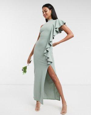 Шалфейно-зеленое платье на одно плечо с разрезом bridesmaid-Зеленый Little Mistress
