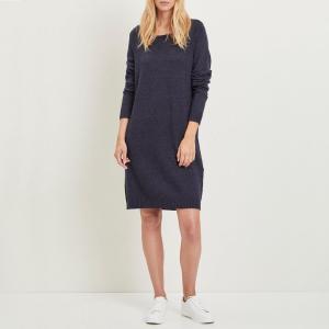 Платье-пуловер с круглым вырезом и длинными рукавами VILA. Цвет: синий морской