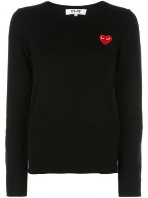 Пуловер с нашивкой в форме сердца Comme Des Garçons Play. Цвет: черный