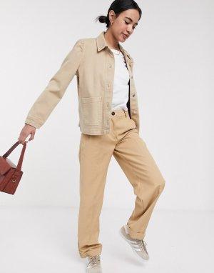 Бежевая джинсовая куртка с карманом Femme-Бежевый Selected