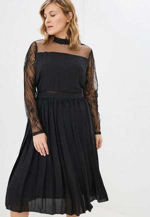 Платье LOST INK PLUS MIDI DRESS WITH PLEATED SKIRT& LACE. Цвет: черный
