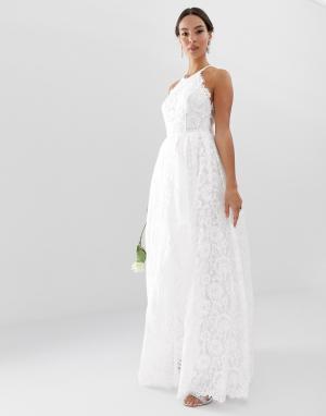 Кружевное свадебное платье макси с американской проймой Amalie-Белый ASOS EDITION