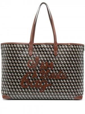 Большая сумка-тоут I Am A Plastic Bag Anya Hindmarch. Цвет: черный