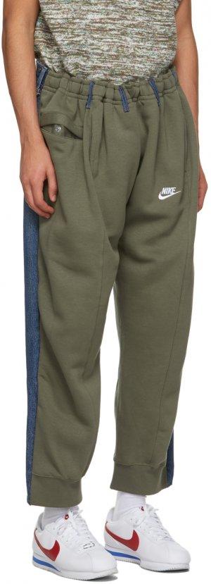 SSENSE Exclusive Khaki & Blue Overjogging Lounge Pants Bless. Цвет: brown/olive