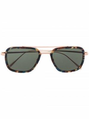 Солнцезащитные очки-авиаторы черепаховой расцветки Billionaire. Цвет: серебристый