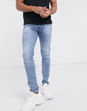 Синие выбеленные зауженные джинсы ED85-Синий Edwin