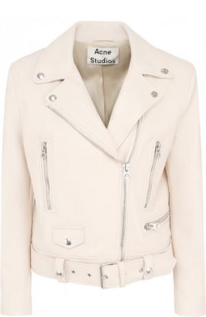 Однотонная кожаная куртка с косой молнией Acne Studios. Цвет: кремовый