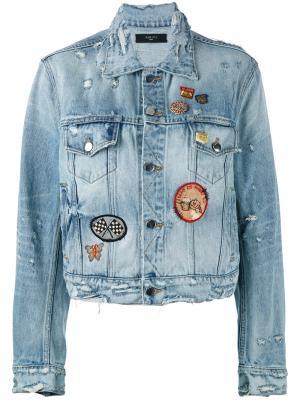 Джинсовая куртка с бахромой Amiri. Цвет: синий