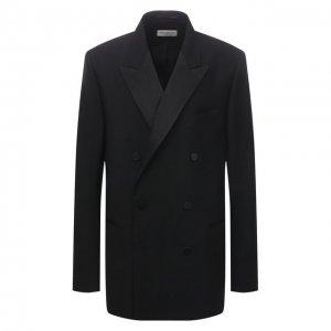 Пиджак из шерсти и шелка Dries Van Noten. Цвет: чёрный