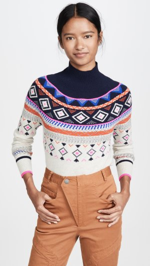 Fair Isle Mock Neck Cashmere Sweater Autumn