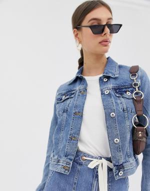 Выбеленная приталенная джинсовая куртка -Синий River Island
