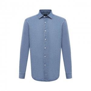 Джинсовая рубашка Ermenegildo Zegna. Цвет: синий