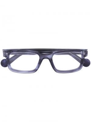 Солнцезащитные очки в квадратной оправе Moncler. Цвет: синий