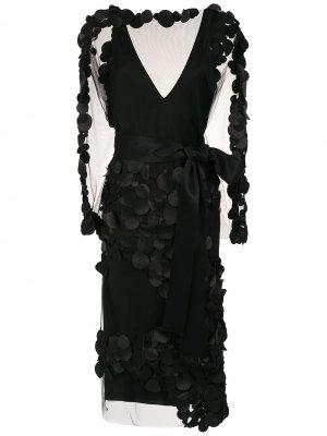 Платье миди с декоративной отделкой Gloria Coelho. Цвет: черный