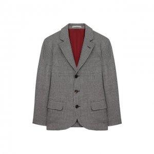 Шерстяной пиджак Brunello Cucinelli. Цвет: серый