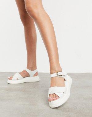 Кремовые кожаные сандалии на массивной подошве Nora-Белый Fiorelli
