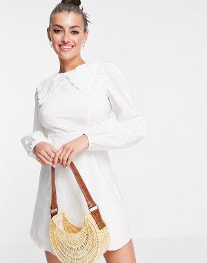Мини-платье с присборенной юбкой, объемными рукавами и большим воротником -Белый Fashion Union