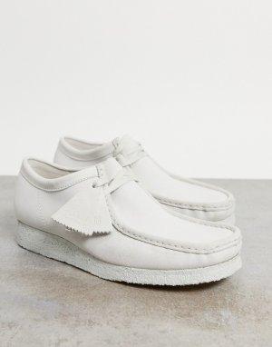 Белые замшевые туфли Wallabee-Белый Clarks Originals