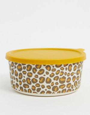 Ланчбокс с леопардовым узором -Коричневый цвет Sass & Belle